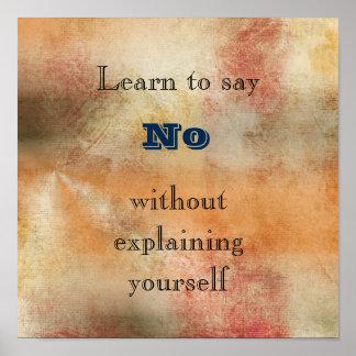 Aprenda no decir ninguna sabiduría inspirada póster