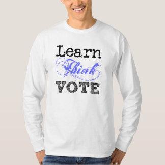 Aprenda piensan la camiseta larga de la manga del poleras