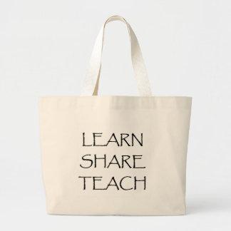 Aprenda que la parte enseña bolsa tela grande