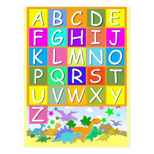 Aprenda su ABC con alfabeto de los dinosaurios Tarjetas Postales