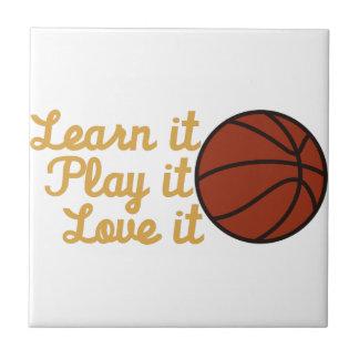 Apréndalo baloncesto azulejo cuadrado pequeño