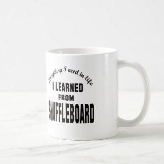 Aprendí de Shuffleboard. Taza Básica Blanca