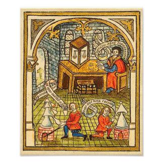 Aprendices en un laboratorio medieval fotografía
