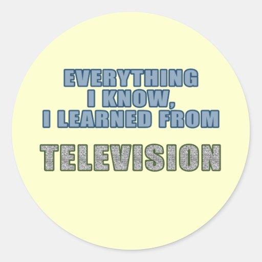 Aprendido de la televisión pegatina redonda