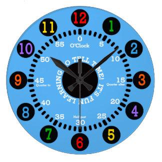 Aprendizaje azul decir tiempo reloj redondo grande