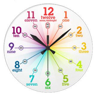 Aprendizaje colorido reloj de pared
