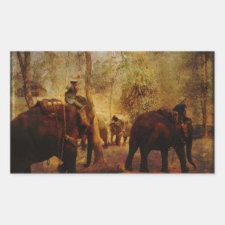 Aprendizaje de los elefantes pegatina rectangular