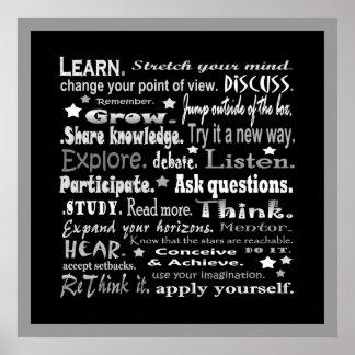 aprendizaje del collage de las palabras en negro impresiones