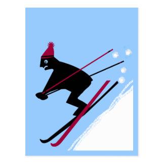 Aprendizaje esquiar tarjetas postales