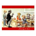 Aprendizaje hacer punto tarjeta postal