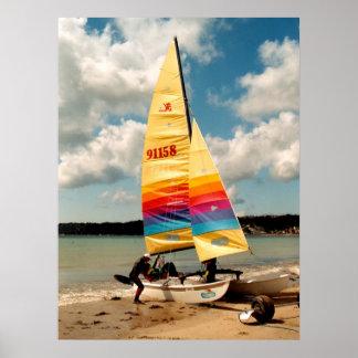 Aprendizaje navegar un catamarán de Hobie Posters