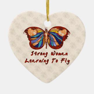 Aprendizaje volar adorno navideño de cerámica en forma de corazón