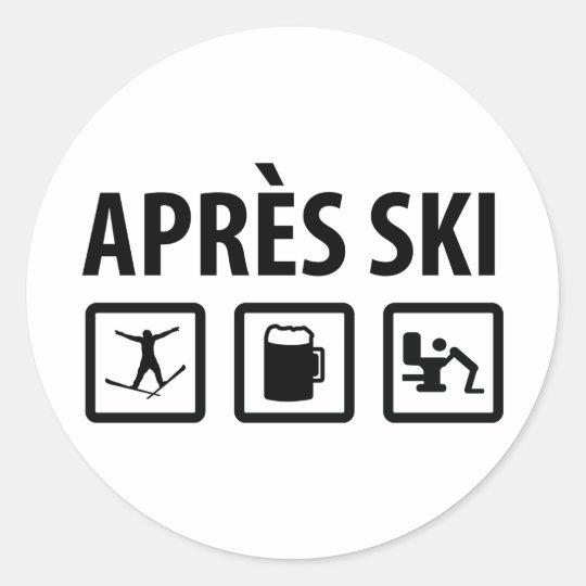 apres ski classic round sticker