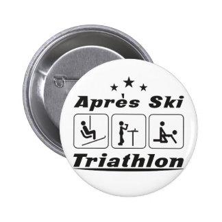 Apres Ski Triathlon Pinback Button