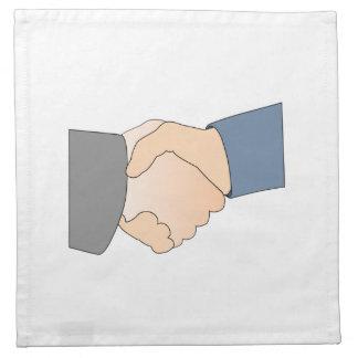 Apretón de manos servilletas imprimidas