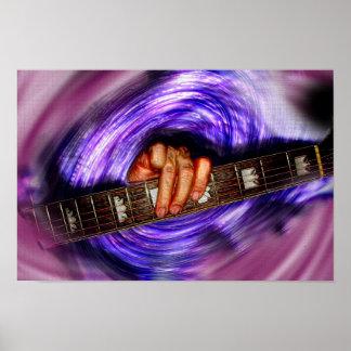 Apretón púrpura de la guitarra del vórtice impresiones