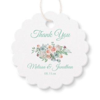 Apricot and Mint Floral Wedding Thank You Favor Tags