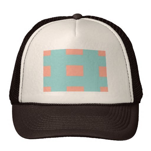 apricot and sky blue pattern mesh hat