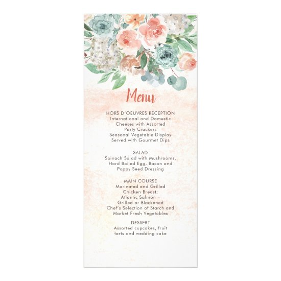 Apricot and Wasabi Green Watercolor Floral Wedding Rack Card