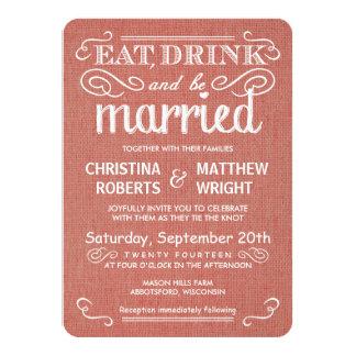 Apricot Burlap Rustic Wedding Invitations