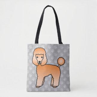 Apricot Cartoon Toy Poodle Dog Breed Illustration Tote Bag