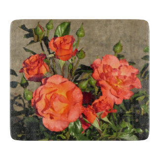 Apricot Cathedral Roses Cutting Board