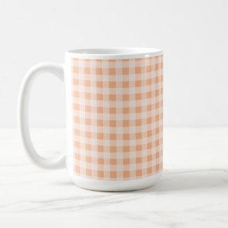 Apricot Color Gingham; Checkered Classic White Coffee Mug