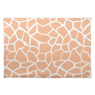 Apricot Color Giraffe Animal Print Placemat