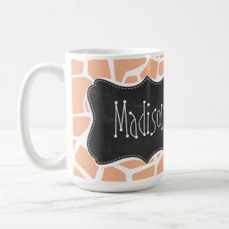 Apricot Color Giraffe Print; Vintage Chalkboard Coffee Mug