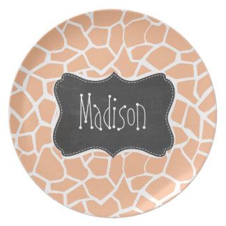 Apricot Color Giraffe Print; Vintage Chalkboard Dinner Plate