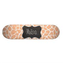Apricot Color Giraffe Print; Vintage Chalkboard Skateboard Deck