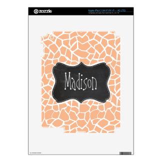 Apricot Color Giraffe Print Vintage Chalkboard iPad 3 Decal