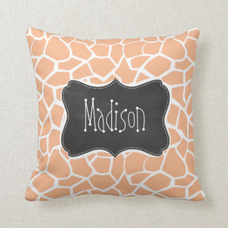 Apricot Color Giraffe Print; Vintage Chalkboard Throw Pillow