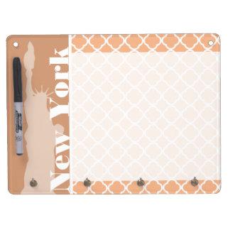 Apricot Color Quatrefoil New York Dry Erase Boards
