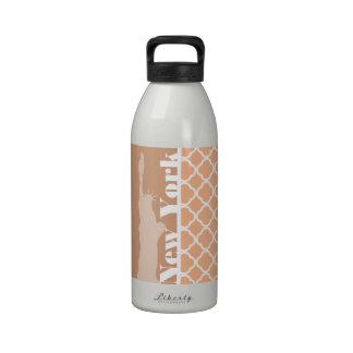 Apricot Color Quatrefoil; New York Drinking Bottle