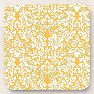 Apricot Cream Vintage Floral Damask Lace Pattern Coaster