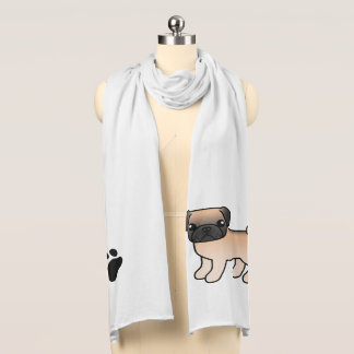 Apricot Fawn Pug With Willoughby Mask Cartoon Dog Scarf