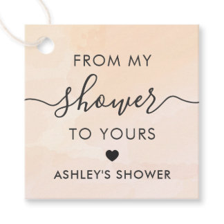 Apricot From My Shower To Yours, Bridal Shower Tag