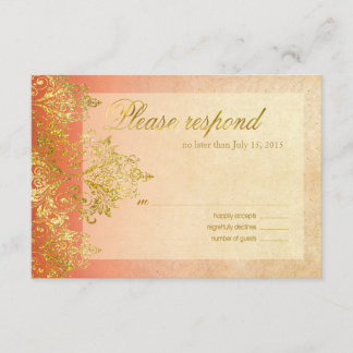 Apricot & Gold Gatsby Glitter Flourish RSVP