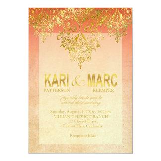 Apricot & Gold Gatsby Glitter Flourish Wedding Invitation
