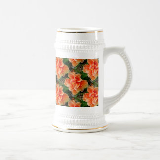 Apricot Hibiscus Tropical Flower 18 Oz Beer Stein