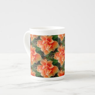 Apricot Hibiscus Tropical Flower Tea Cup
