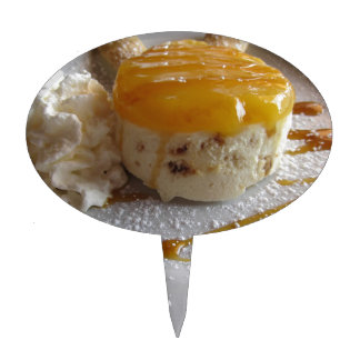 Apricot jam covered ice cream cake cake topper