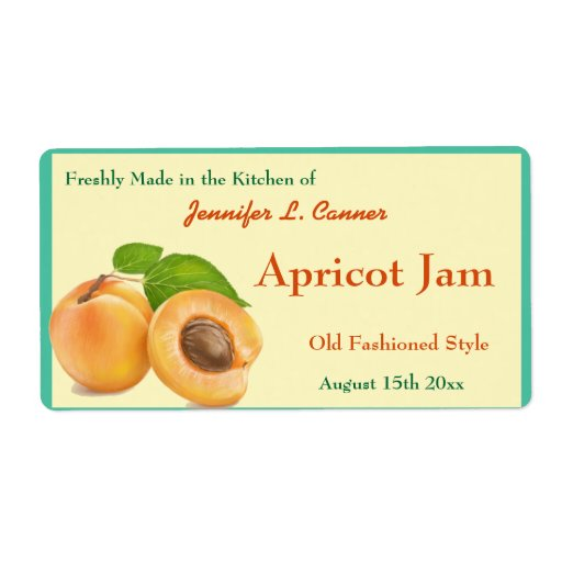 Apricot Jam or Preserves Canning Jar Personalized Shipping Labels