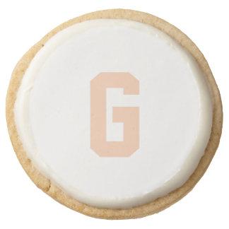 Apricot Monogram Round Premium Shortbread Cookie