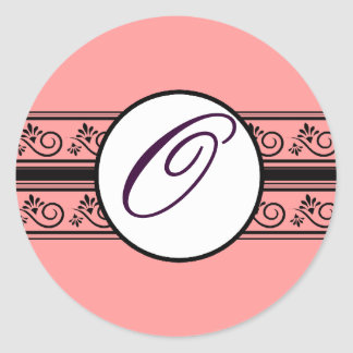 Apricot Monogram Wedding Borders Any Color Classic Round Sticker