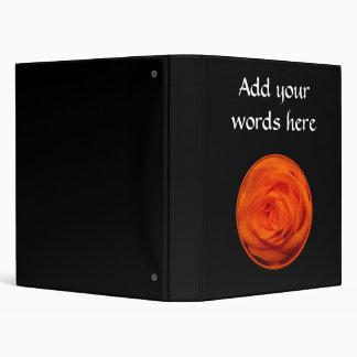Apricot/Orange colored rose 3 Ring Binder