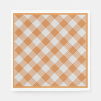 Apricot Orange Country Cottage Gingham Stripes Napkin