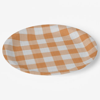 Apricot Orange Country Cottage Gingham Stripes Paper Plate