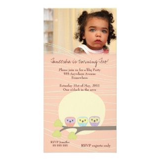 Apricot Owls Girls Birthday Party Premium Invite